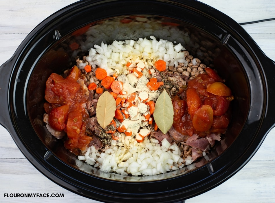 Crock Pot Southern Style Pintos Beans ingredients in the slow cooker before cooking