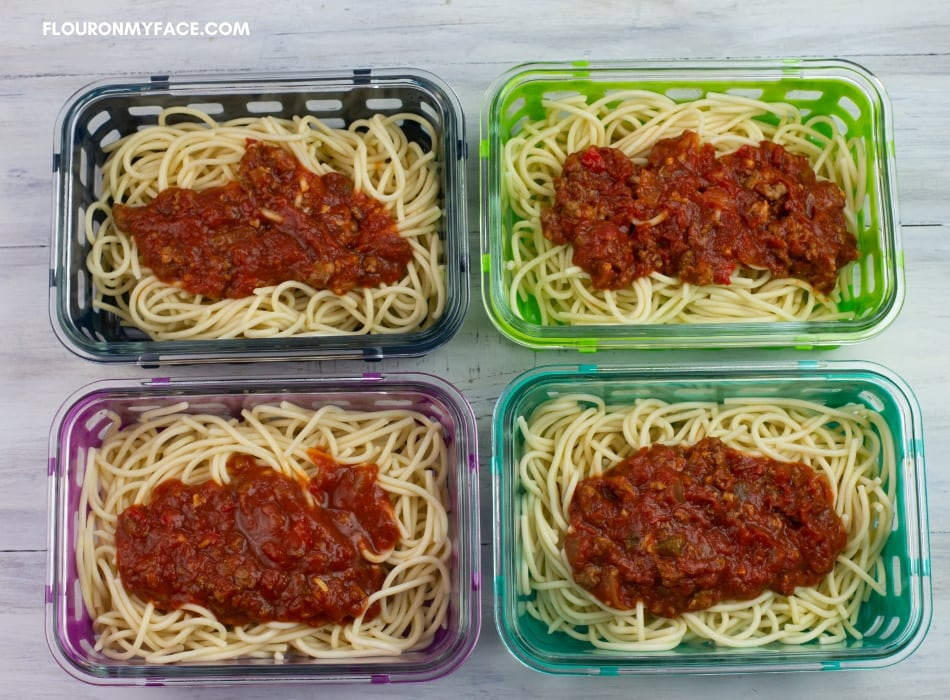 4 Glass Meal Prep Containers filled with spaghetti and sauce