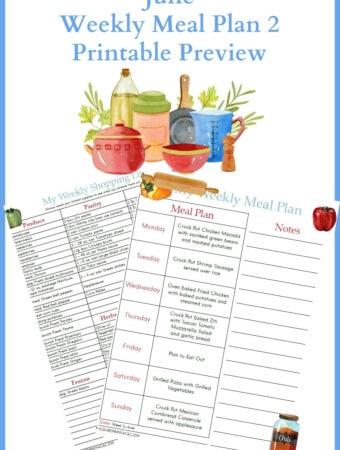 June Weekly Meal Plan 2 printable preview