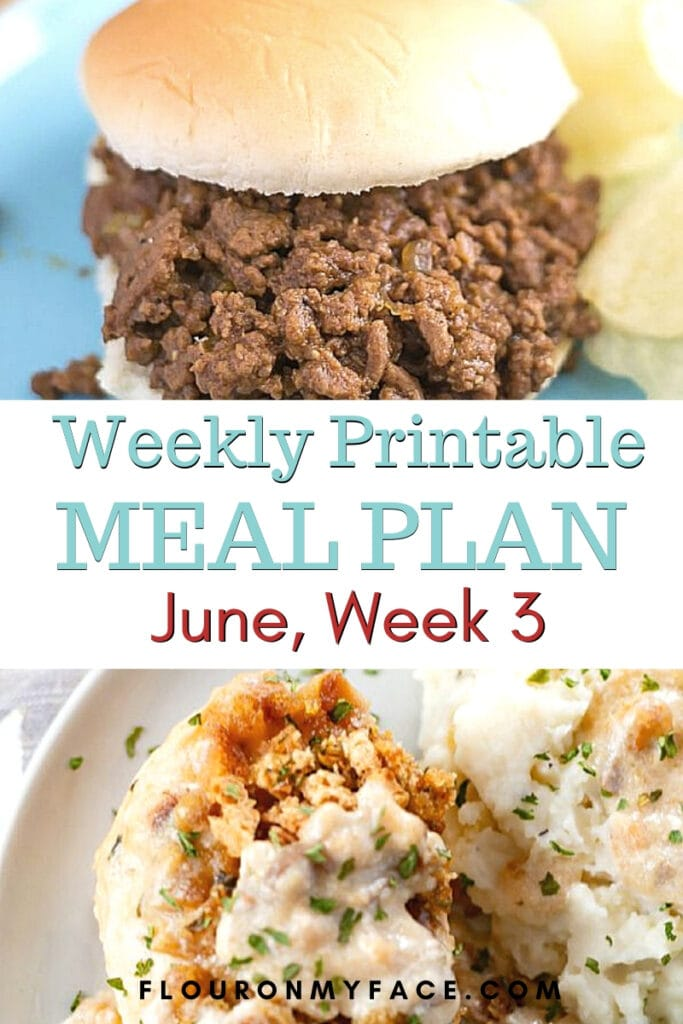 June Meal Plan Week 3 with meal plan and shopping list printables