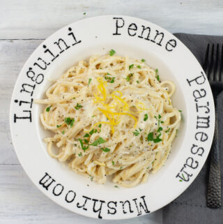 Lemon Alfredo Sauce recipe served over linguine pasta