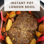 Pressure Cooked Beef Roast inside the pot of an Instant Pot