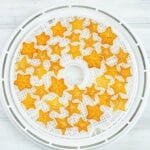 Dehydrating Star Fruit on a dehydrator drying tray