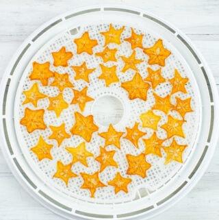 Dehydrating Star Fruit on a dehydrator drying tray