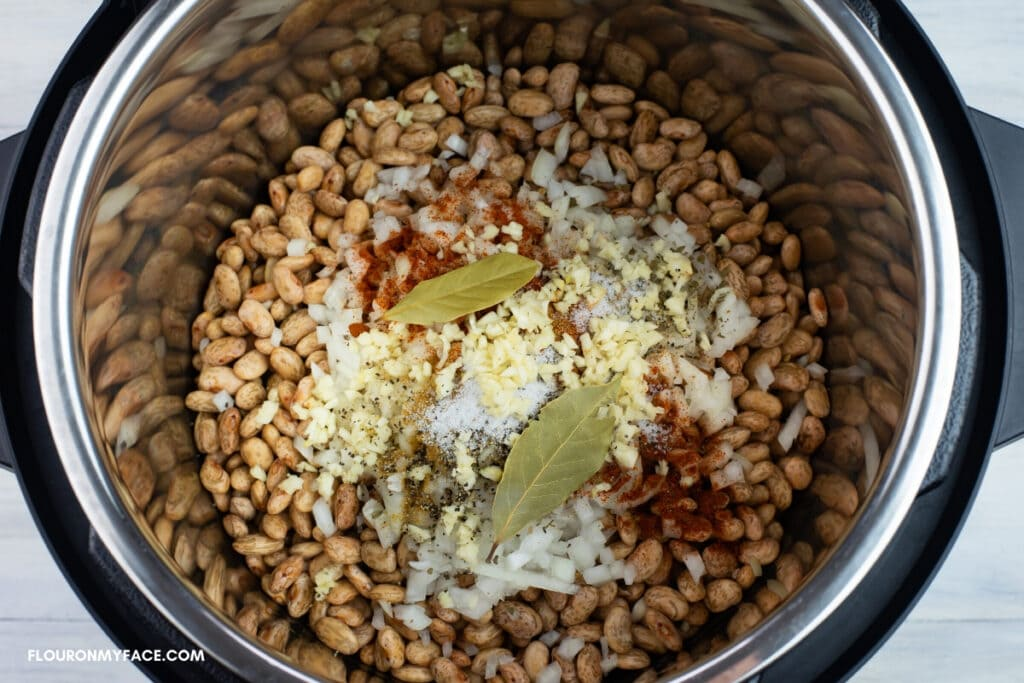 Instant Pot Refried Beans ingredients inside the pot before pressure cooking