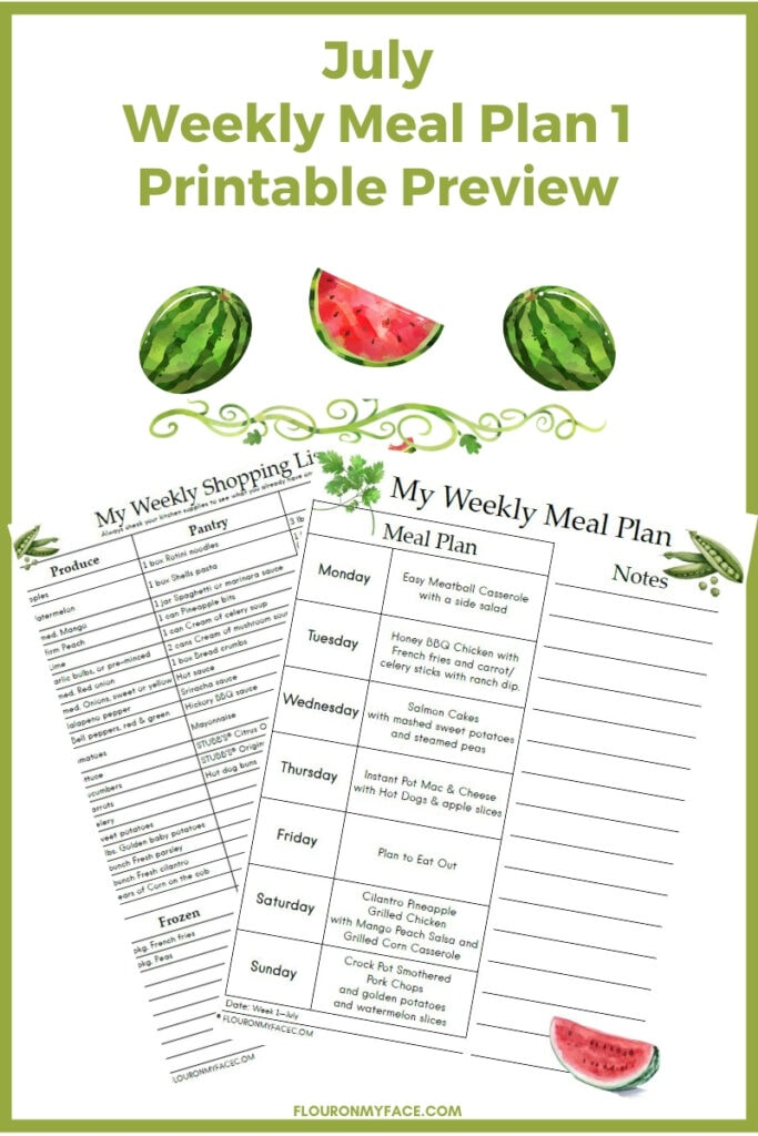 July Meal Plan Printables