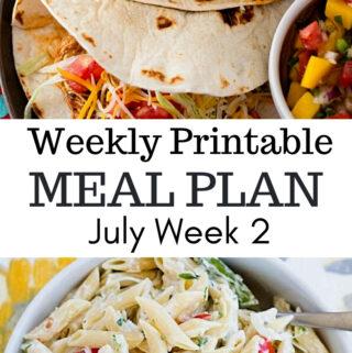 Weekly Meal Plan July Week 2 Preview