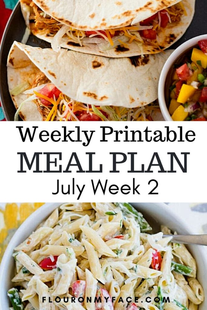 Weekly Meal Plan July Week 2 Preview