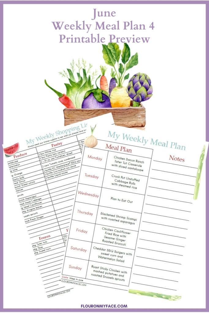 Weekly June Meal Plan Week 4 printable preview