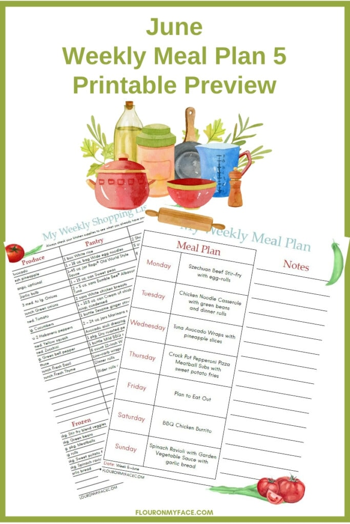 June Weekly Meal Plan Printable Preview
