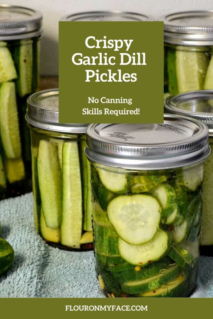 close up photo of canning jars filled with spears and sliced refrigerator pickles
