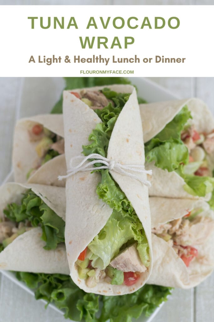 a plate piled high with healthy tuna avocado wraps