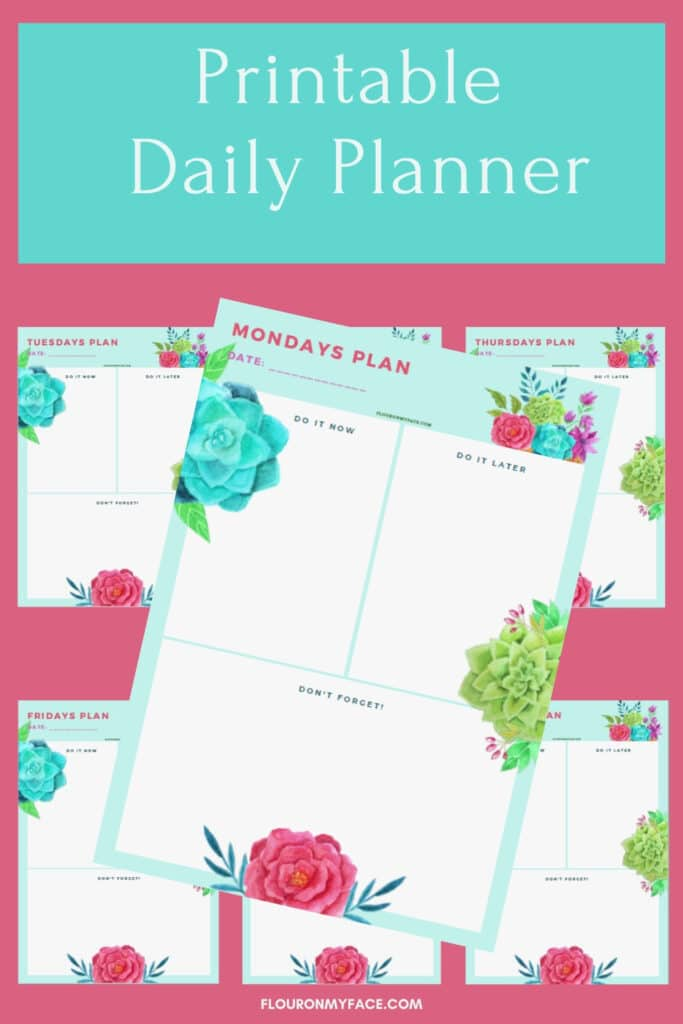 Daily Weekly Planner Preview image of each of the daily printables