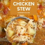 Close up of stew in a slow cooker will a ladle full for a serving bowl.