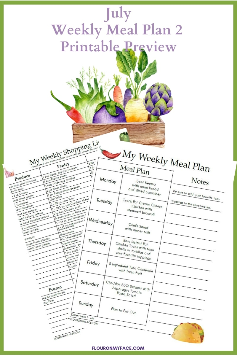 July Meal Plan 2 Printables preview image