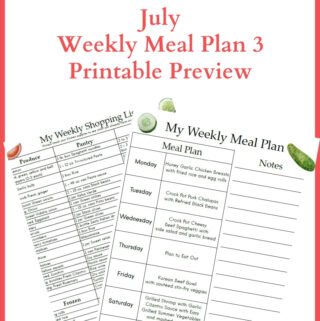 July Weekly Meal Plan Week 3 Printable Preview