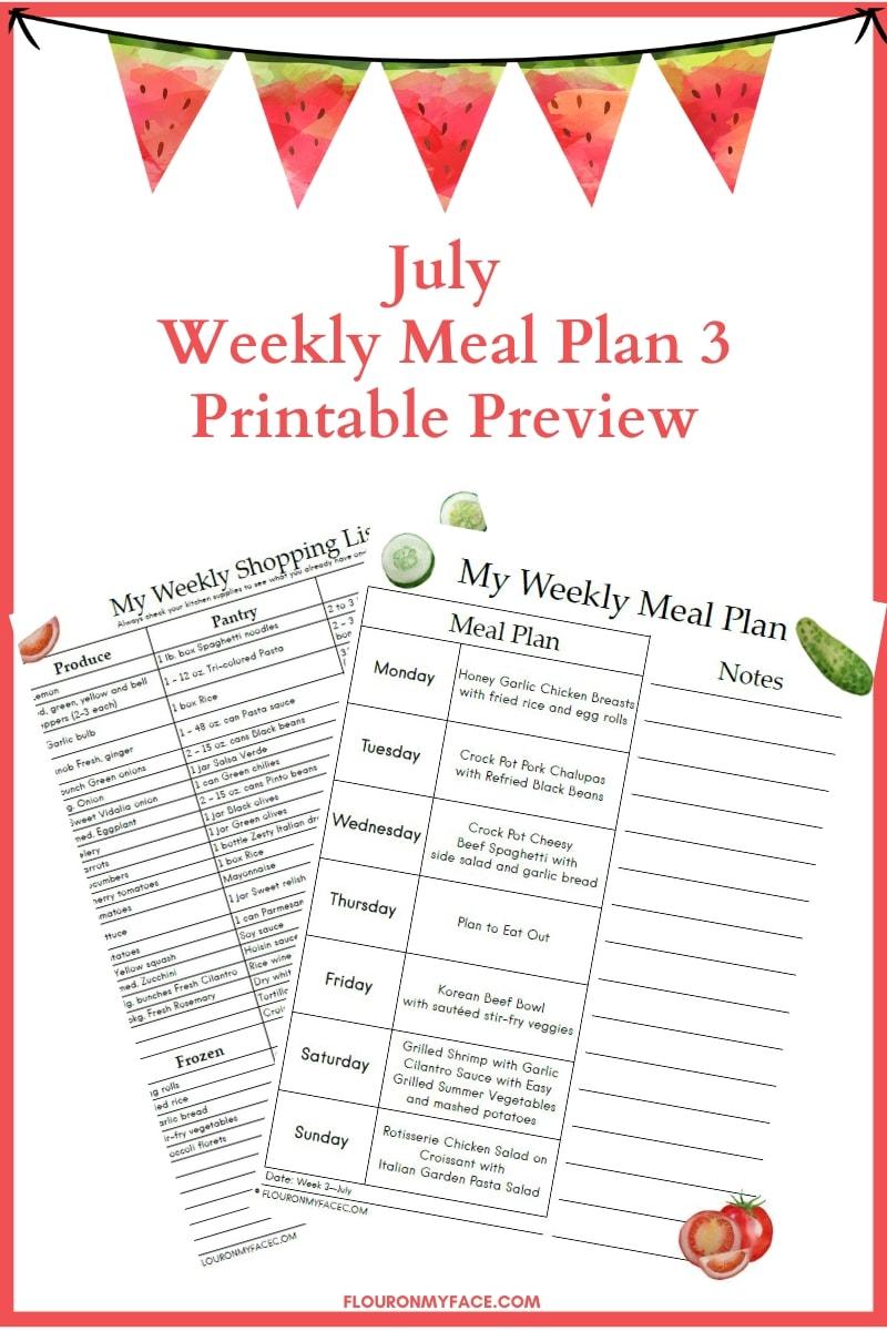 July Weekly Meal Plan Week 3 Printable Preview