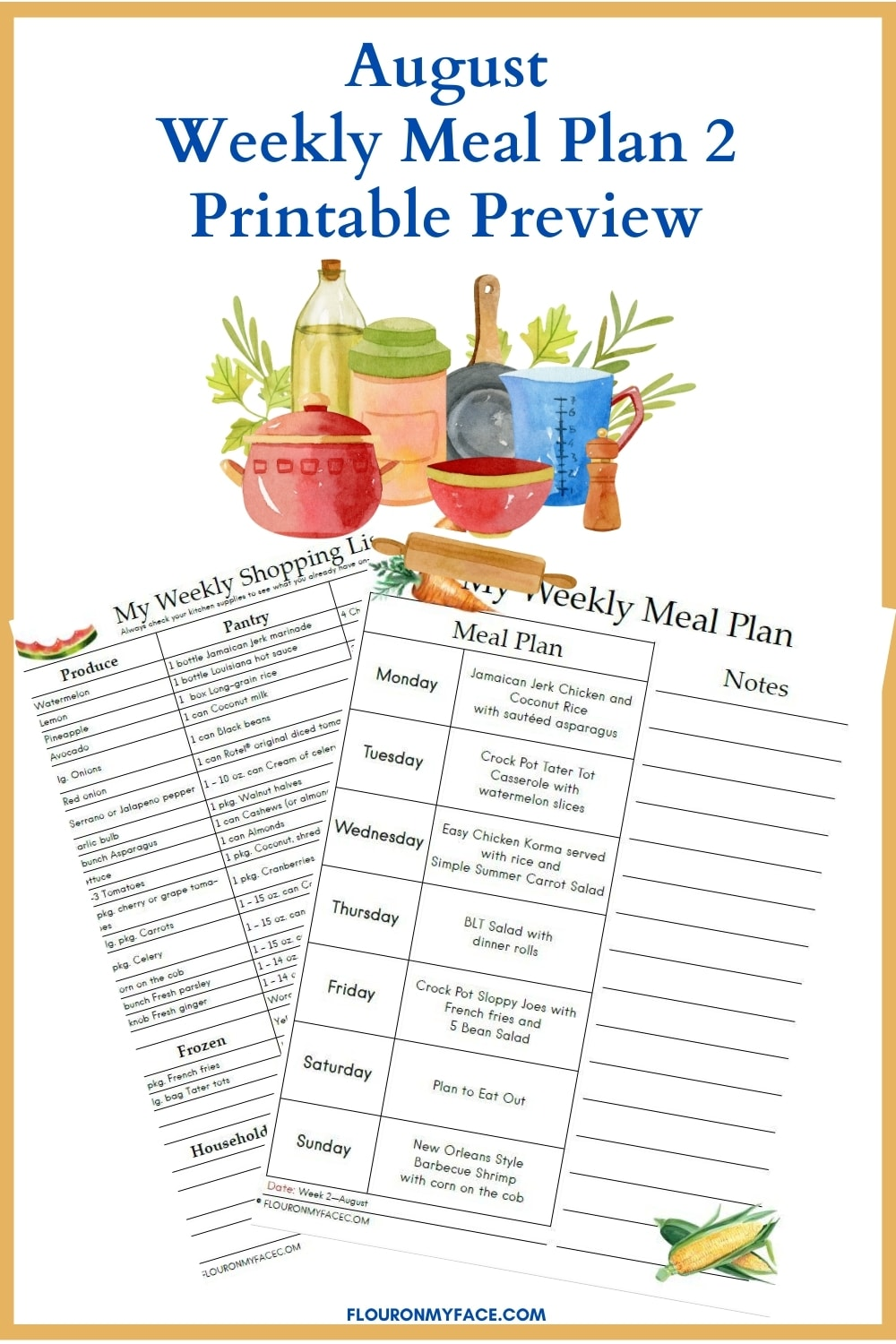 August Meal Plan 2 printable preview