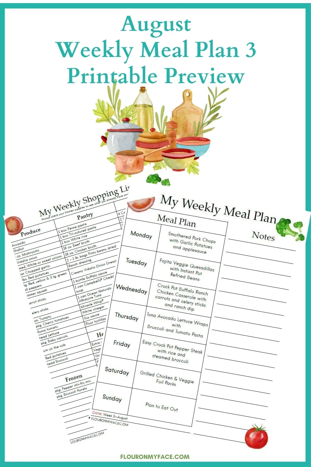 Meal Plan Printable Preview