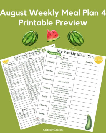 August Weekly Meal Plan Week 4 Printable Preview
