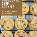 Best homemade chocolate chip cookies on a baking rack as they cool.