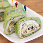 close up photo of Cucumber Ranch Turkey Wraps cut into Pinwheel shaped appetizers