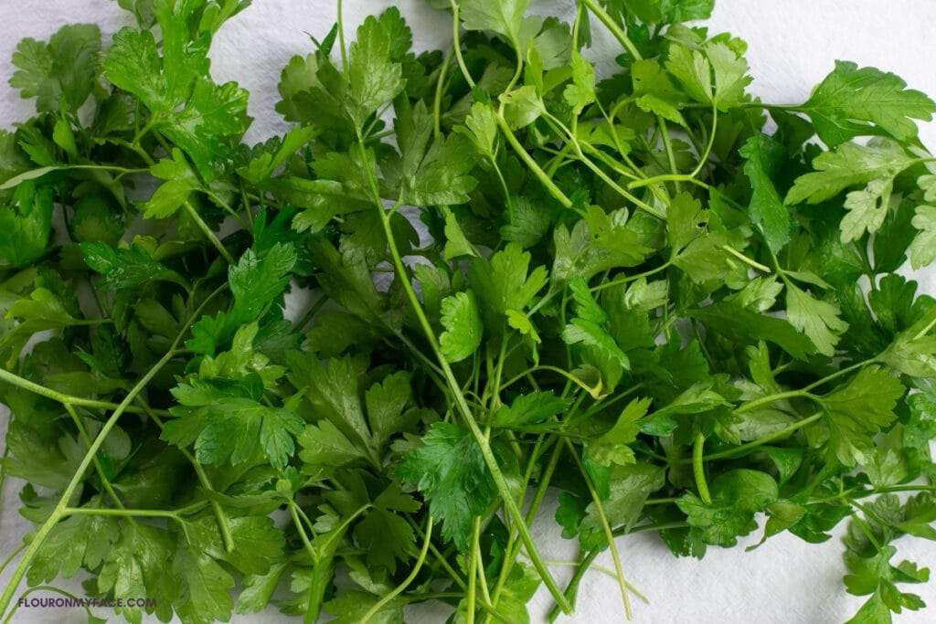 a bunch of fresh flat leaved parsley draining on a towel