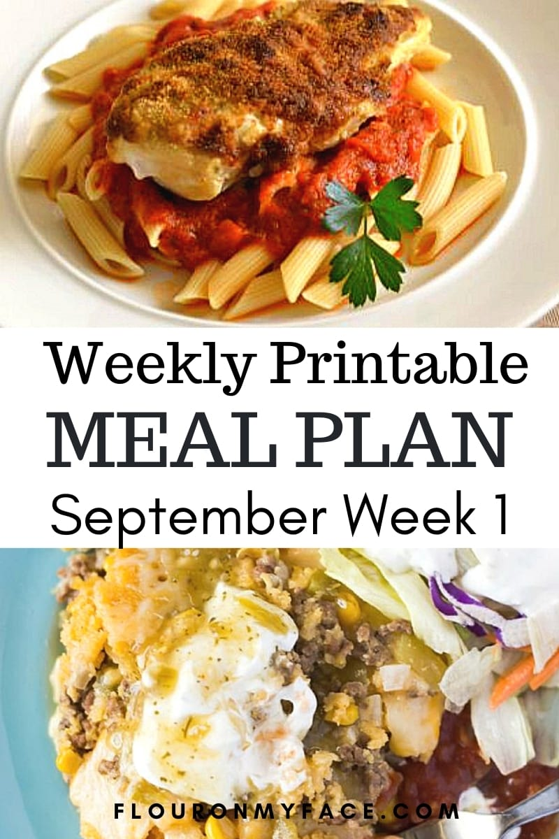 featured image for the September Weekly Meal Plan week one showing two of the featured recipes