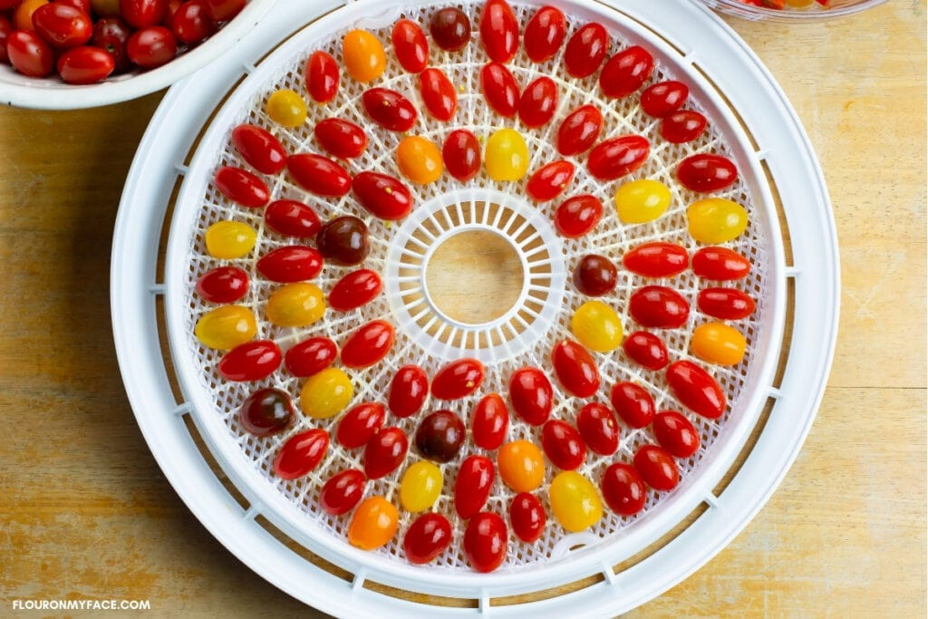 A filled dehydrator tray with grape tomato halves in a single layer