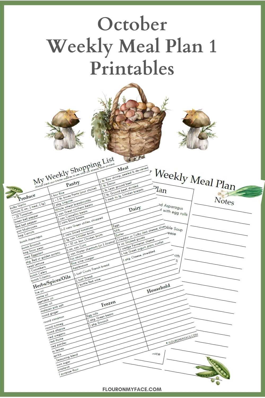 October Weekly Meal Plan Week One Printable Previews
