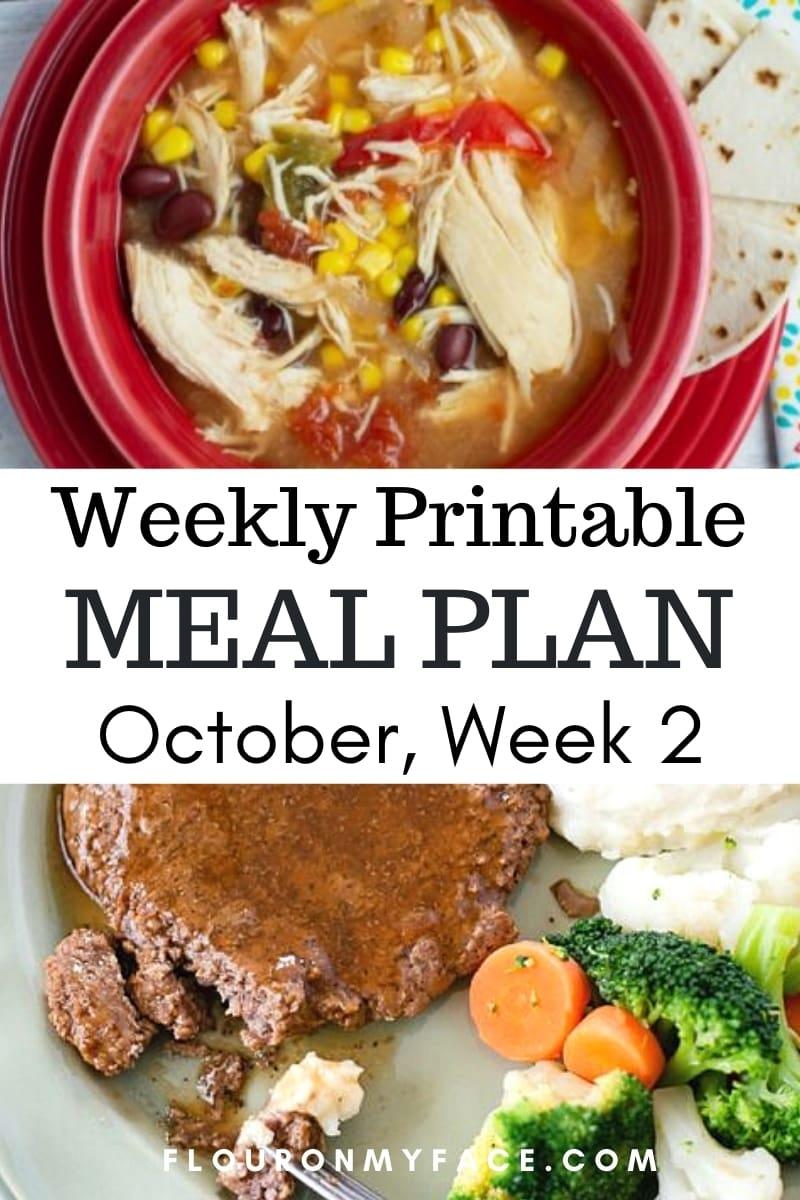 October Weekly Meal Plan Week 2 Preview Image