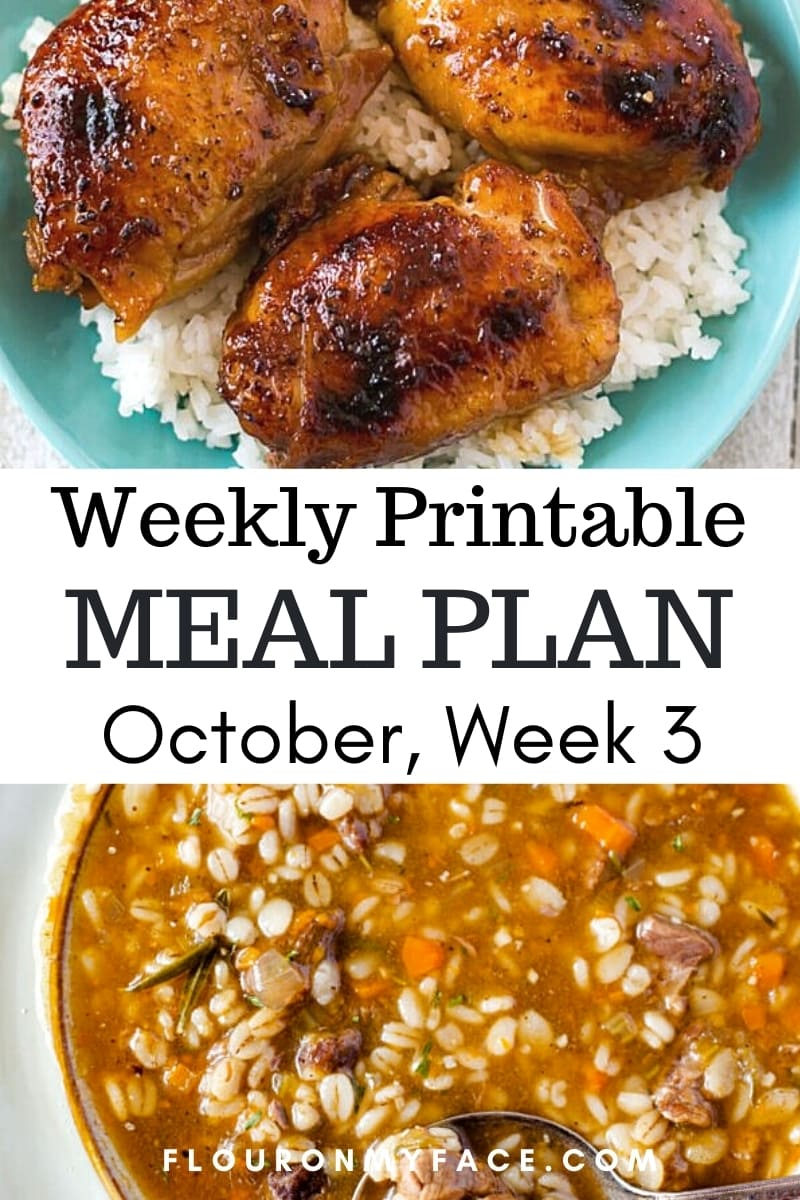 October Weekly Meal Plan 3 preview