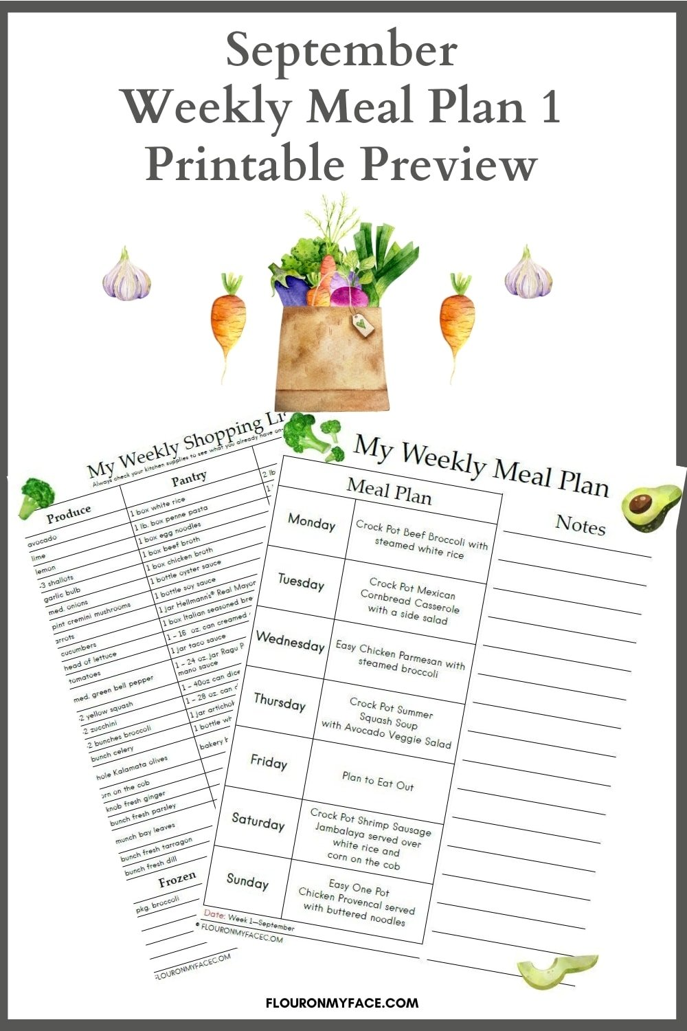 Preview of the September Meal Plan with a free printable menu plan and shopping list.