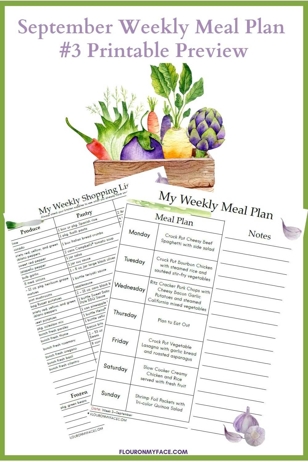September Weekly Meal Plan #3 Printable Preview