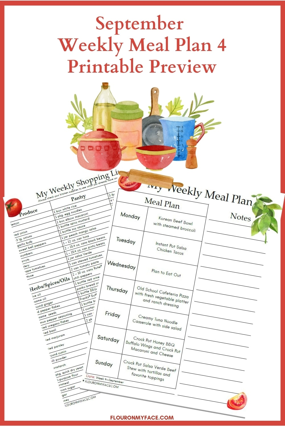 September Weekly Meal Plan Week 4 Printable Preview