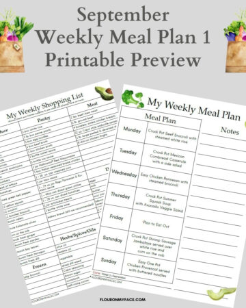 Preview images for the September Weekly Meal Plan for week 1