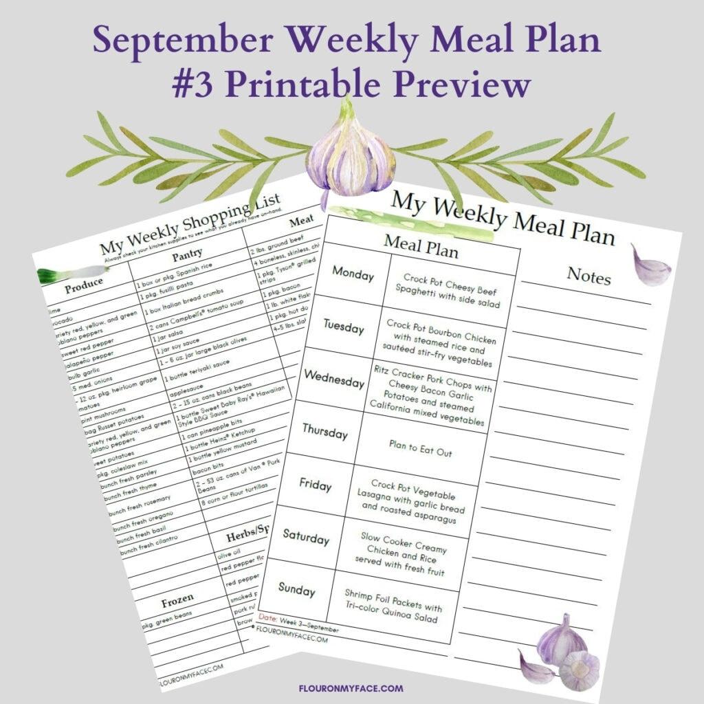 September Meal Plan 3