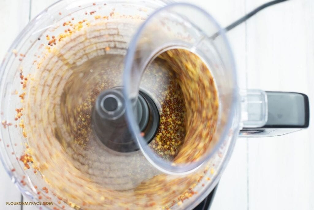 blending mustard in a food processor