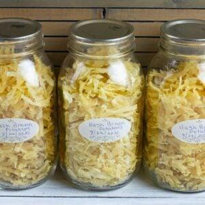 Dehydrated Hash Brown Potatoes in mason jars