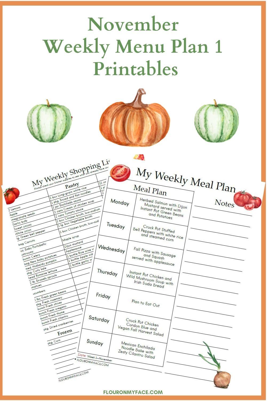 November Weekly Menu Plan Printable Previews