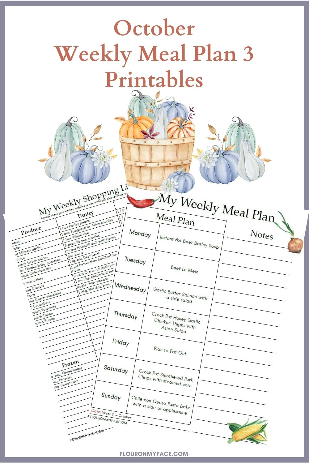 October Weekly Meal Plan 3 Printables preview