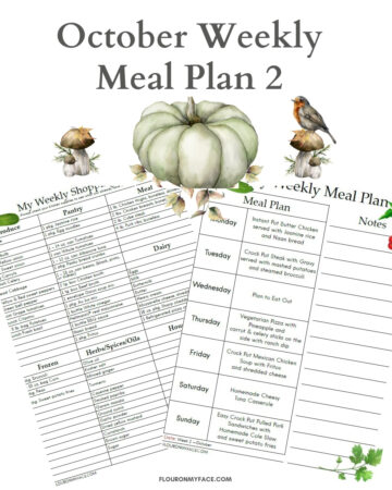 October Weekly Meal Plan 2 preview of printable menu and shopping list