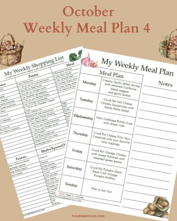 October Weekly Meal Plan 4 Preview
