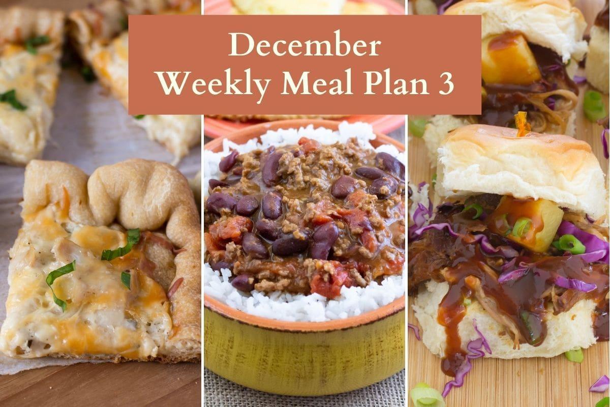 menu plan recipe preview of 3 recipes.