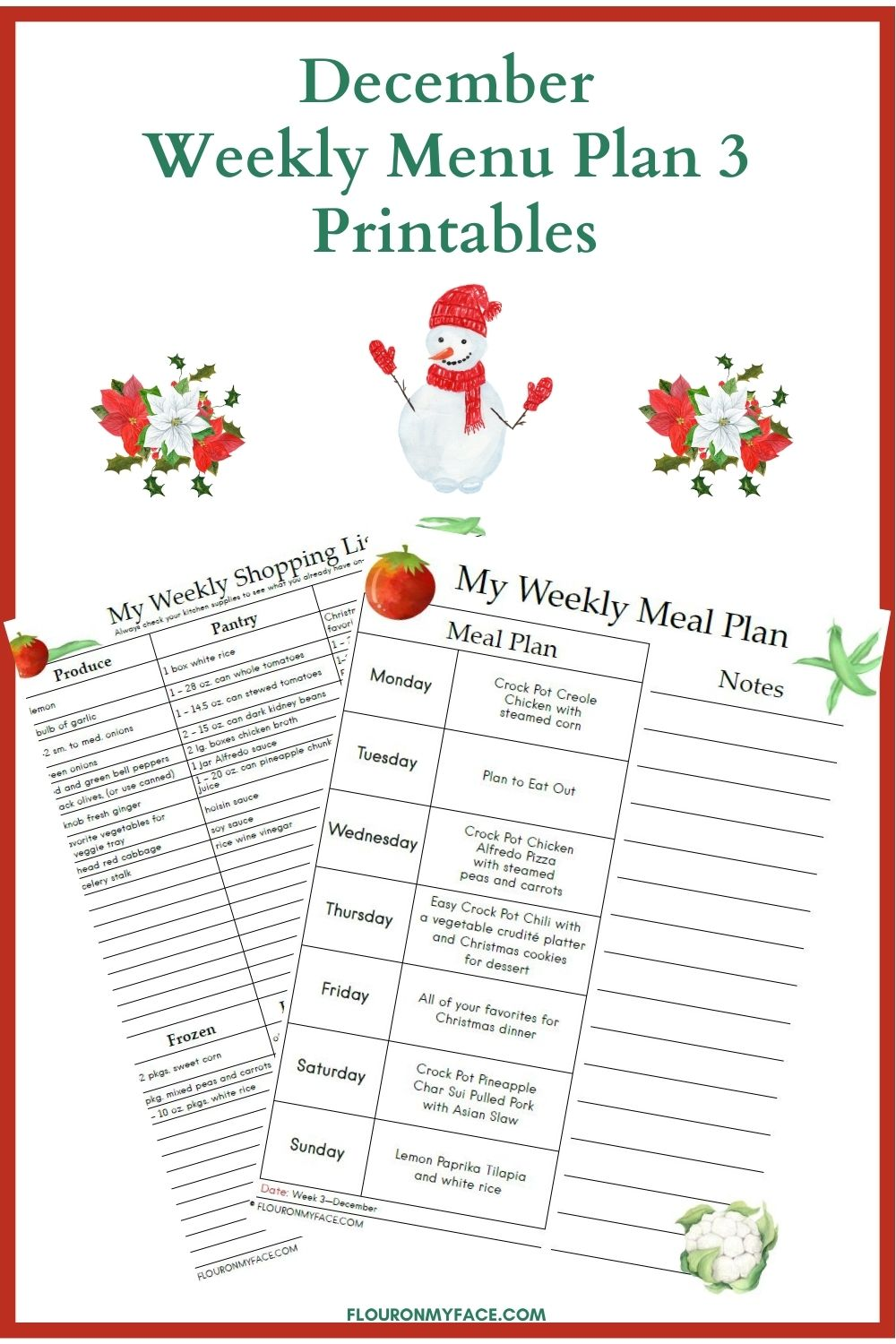 December Weekly Meal Plan Preview Image.