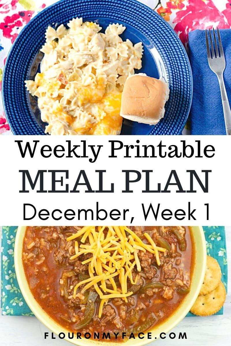 December Weekly Menu Plan 1 preview image