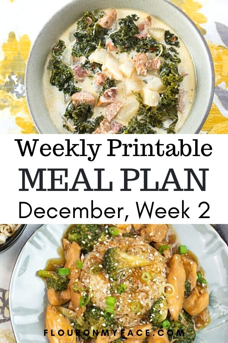 Preview image for December Weekly Menu Plan 2