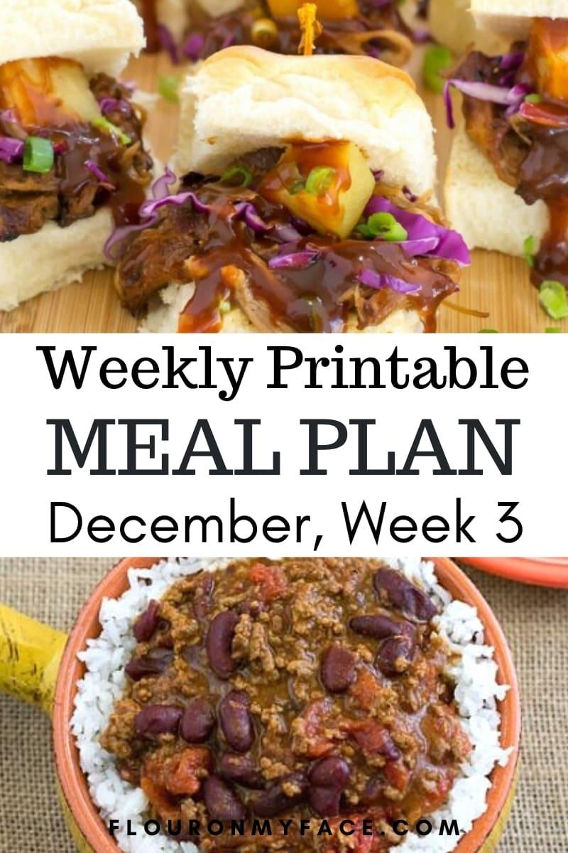 December Weekly Menu Plan 3 Preview image
