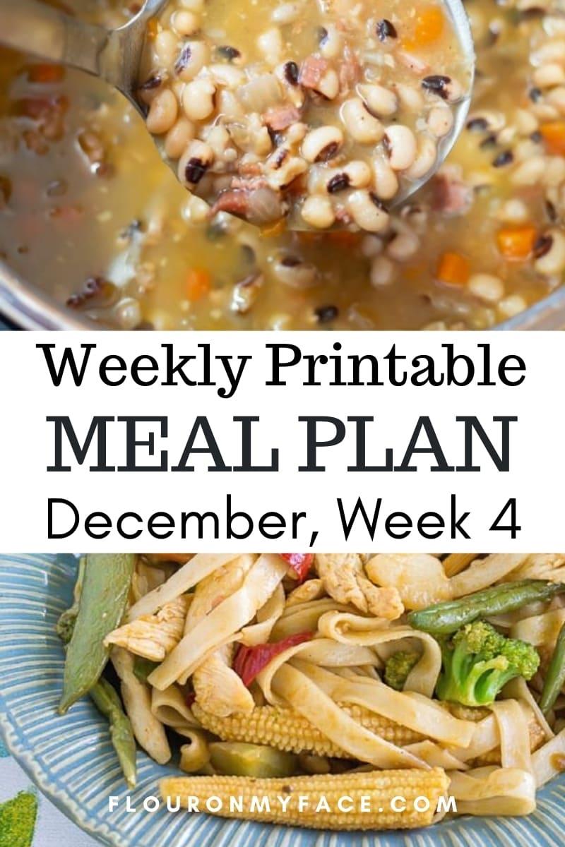 December Weekly Menu Plan 4 preview image