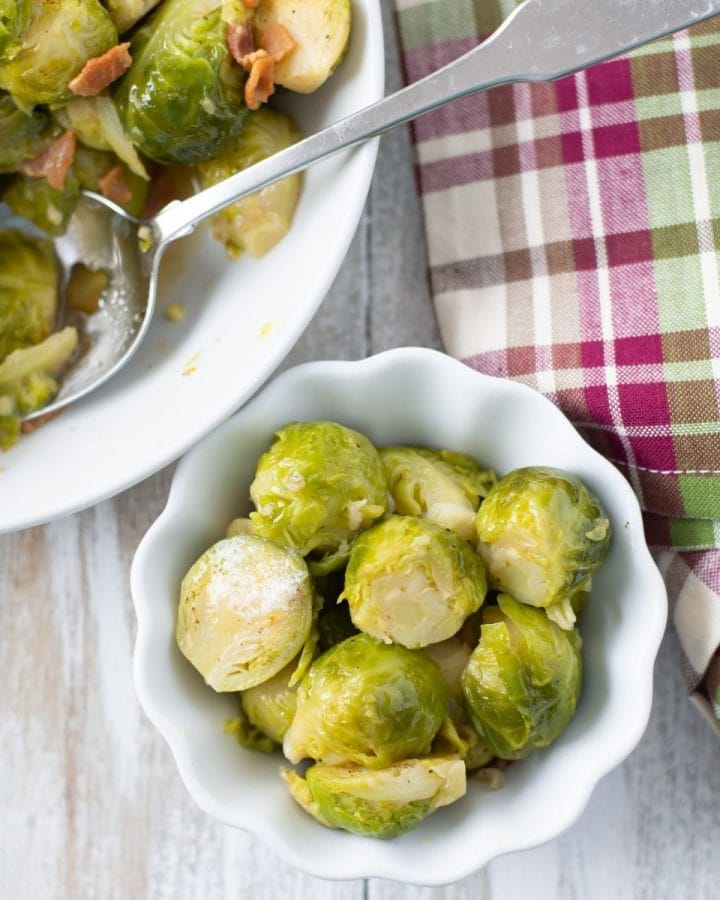 brussels sprouts in a small white bowl